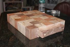 barkeater follies end grain butcher blocks aka christmas gifts here s an unfinished large block random pattern with some rustic walnut handles i made freehand then pegged on with oak dowels and exposed dowel ends