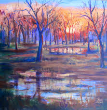 palette knife painters rain puddle reflections new contemporary