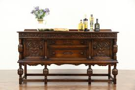 english tudor 1920 antique carved oak sideboard server or buffet