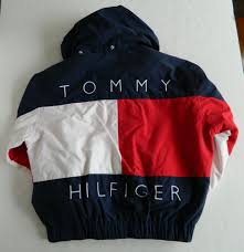 Cheap Urban Name Brand Clothes Vtg Tommy Hilfiger Reversible Hooded Jacket Coat Flag Men U0027s Med