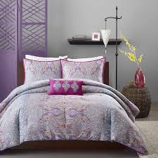 Teal And Purple Comforter Sets Amazon Com Mizone Keisha 4 Piece Comforter Set Full Queen Grey