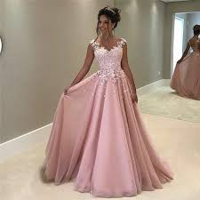 flowers appliques pink prom dress 2017 sleeveless long evening