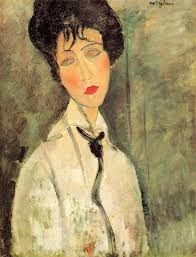 modigliani woman with a fan woman in black tie 1917 by amedeo modigliani