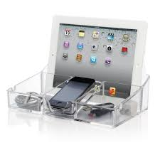 Electronic Charging Station Desk Organizer Cleartech Acrylic Smartphone And Tablet Desktop