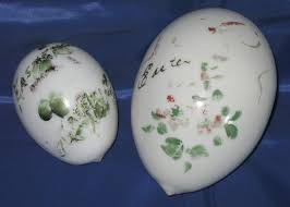 blown easter eggs 2 vintage violet flower milk glass goose size