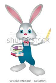 easter bunny books easter bunny rabbit school books pencil stock vector 1035098041