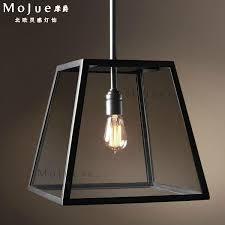 Box For Lights Vintage Glass Box Lighting Rectangular Pendant Light American