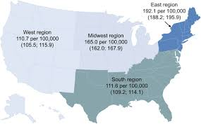 The United States Midwest Region Map by Multiple Sclerosis Prevalence In The United States Commercially
