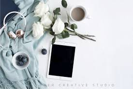 White Desk Accessories by Styled Stock Photography Ipad Mockup White Roses Blue And