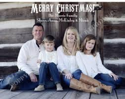 rustic christmas card with monogram and photo holiday card
