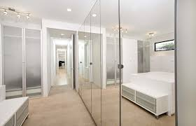 mirrored closet doors closet contemporary with built ins ceiling