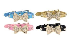 catdog lillypet tm bling rhinestone pet cat dog bow tie collar