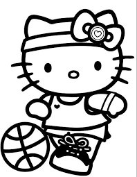 sport kitty coloring pages girls free cartoon coloring