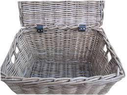 large wicker baskets with lids grey rattan wicker lidded basket chest trunk s amazon co uk