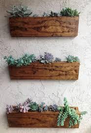 3 wood wall furniture 3 pcs brown rustic box wall mounted pot with kaktus
