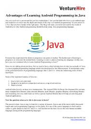 advantages of learning android programming in java