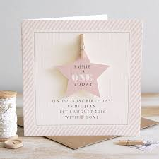 personalised star first birthday card by button box cards