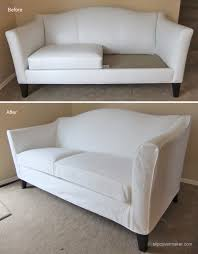 Leather Slipcovers For Sofa White Denim Slipcover For Ethan Allen Leather Sofa The Slipcover