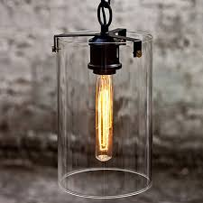 Glass Cylinder Pendant Light Loft Clear Glass Cylinder And Iron Pendant Lighting 10211 Free