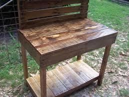 diy pallet work table pallet garden potting bench work bench 101 pallets garden workbench