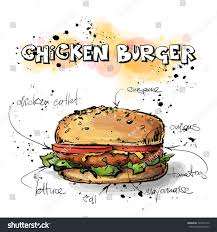 tasty burger sketch watercolor style vector stock vector 165457172
