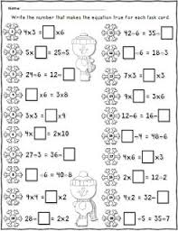 free winter equal equations worksheet using multiplication and