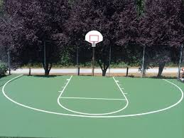 this pro dunk diamond basketball system sits next the backyard