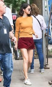 selena gomez sweater selena gomez sports mini skirt and sweater on set daily