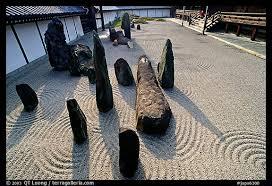 picture photo classic rock and raked gravel zen garden tofuju ji