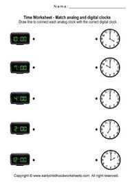 matching digital and analog clocks worksheets worksheet 1