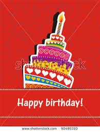 vector happy birthday card birthday cake stock vector 90495310