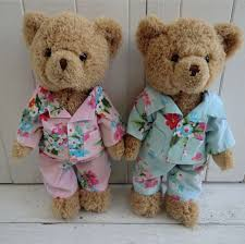 teddy bear with pink floral pyjamas
