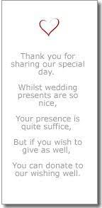wedding gift list poems lovely wedding invitation your presence not presents wedding