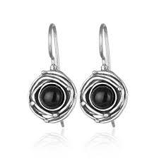 onyx earrings vintage style 925 sterling silver genuine black onyx