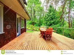 backyard deck overlooking amazing nature landscape stock photo