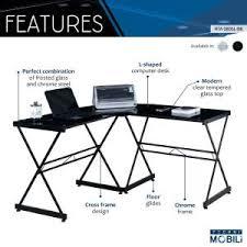 techni mobili black glass corner desk techni mobili black glass l shaped computer desk rta 3805l bk the