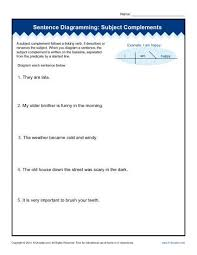 sentence diagramming worksheets subject complements free