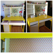 Childrens Desks With Hutch by Ikea Micke Desk For My 6 Year Old Contact Paper Added In The