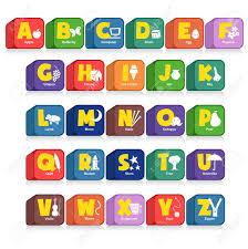 poster pour enfant un autre cube de 26 alphabet avec les objets initiales pour