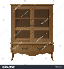 wooden glass display storage kitchen cupboard stock vector