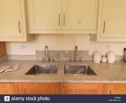 Mounted Sinks Luxury Kitchen With Two Stainless Steel Under Mounted Sinks In