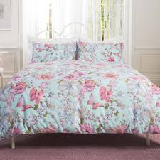 Cynthia Rowley Bedding Collection Patricia Rose Ditsy Floral Duvet Cover Set Aqua And Pink Floral