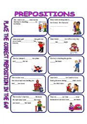 english worksheets prepositions answer key included