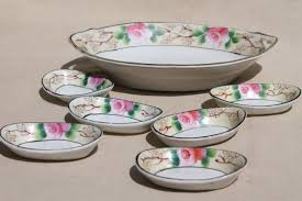 1950s vintage pink roses bowl tiny nut dishes set made in japan