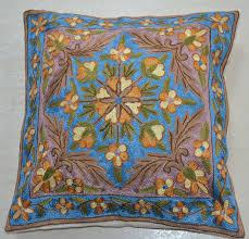 Photo Cushions Online Kashmiri Hand Embroidered Cushion Covers Pashmina Golden
