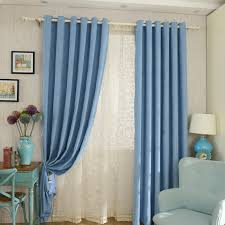 Blue Curtains Bedroom Thick Chenille Fabric Bedroom Curtains In Blue Color