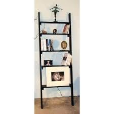 Narrow Black Bookcase Ladder Shelves Black Decoration Step Ladder Shelves Staircase