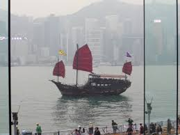 hong kong tourist bureau hong kong tourist bureau junk outside harbourside window picture