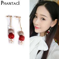 korean earings 2018 new arrival korean style pearl cotton drop earrings for
