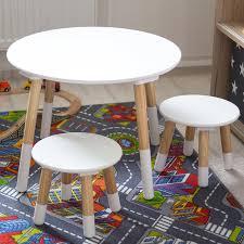 Wohnzimmertisch Jumbo Kledio Kinder Holztisch Mit Stühlen In Weiß Runder Kindertisch